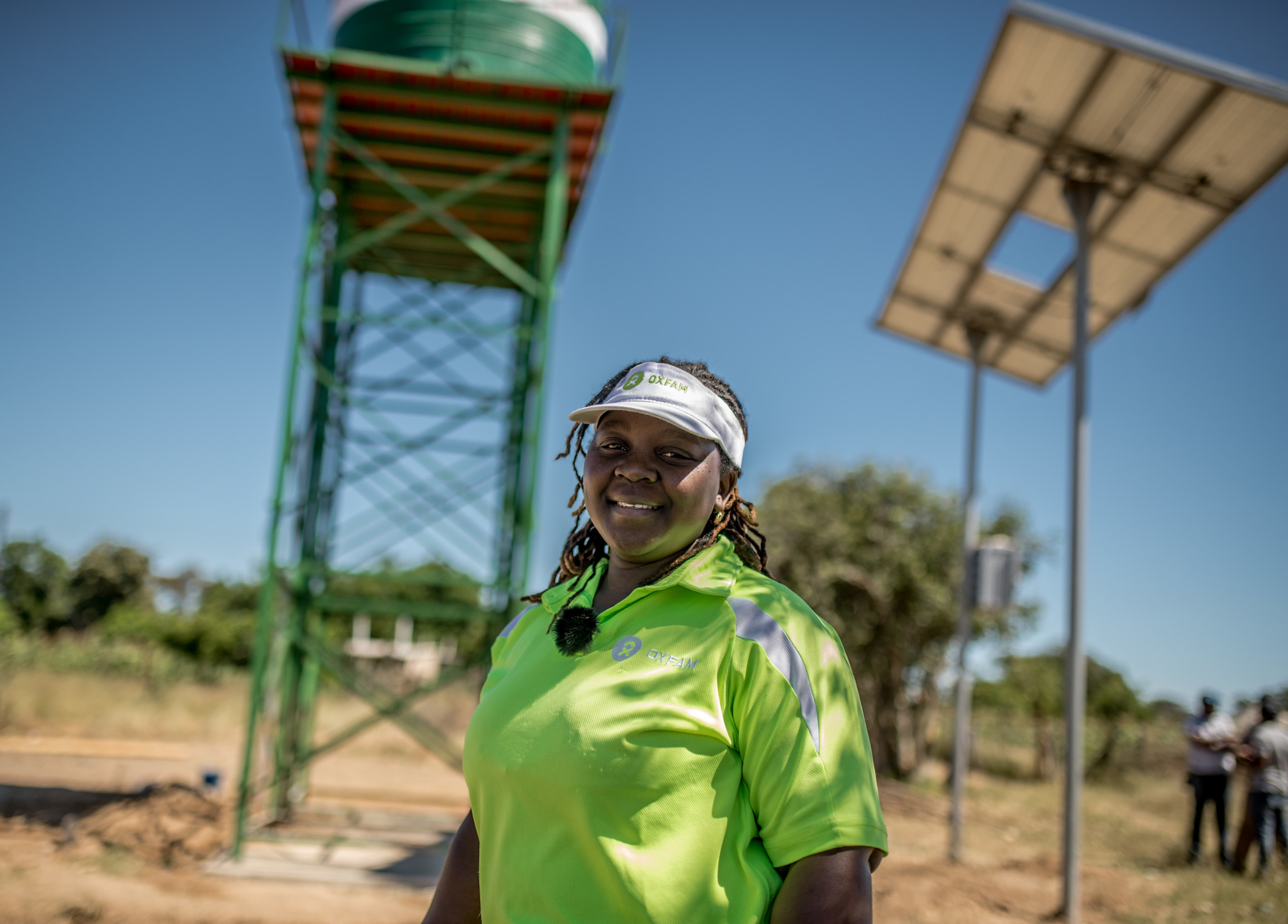 Takudzwa at the Oxfam-funded solar piped water system