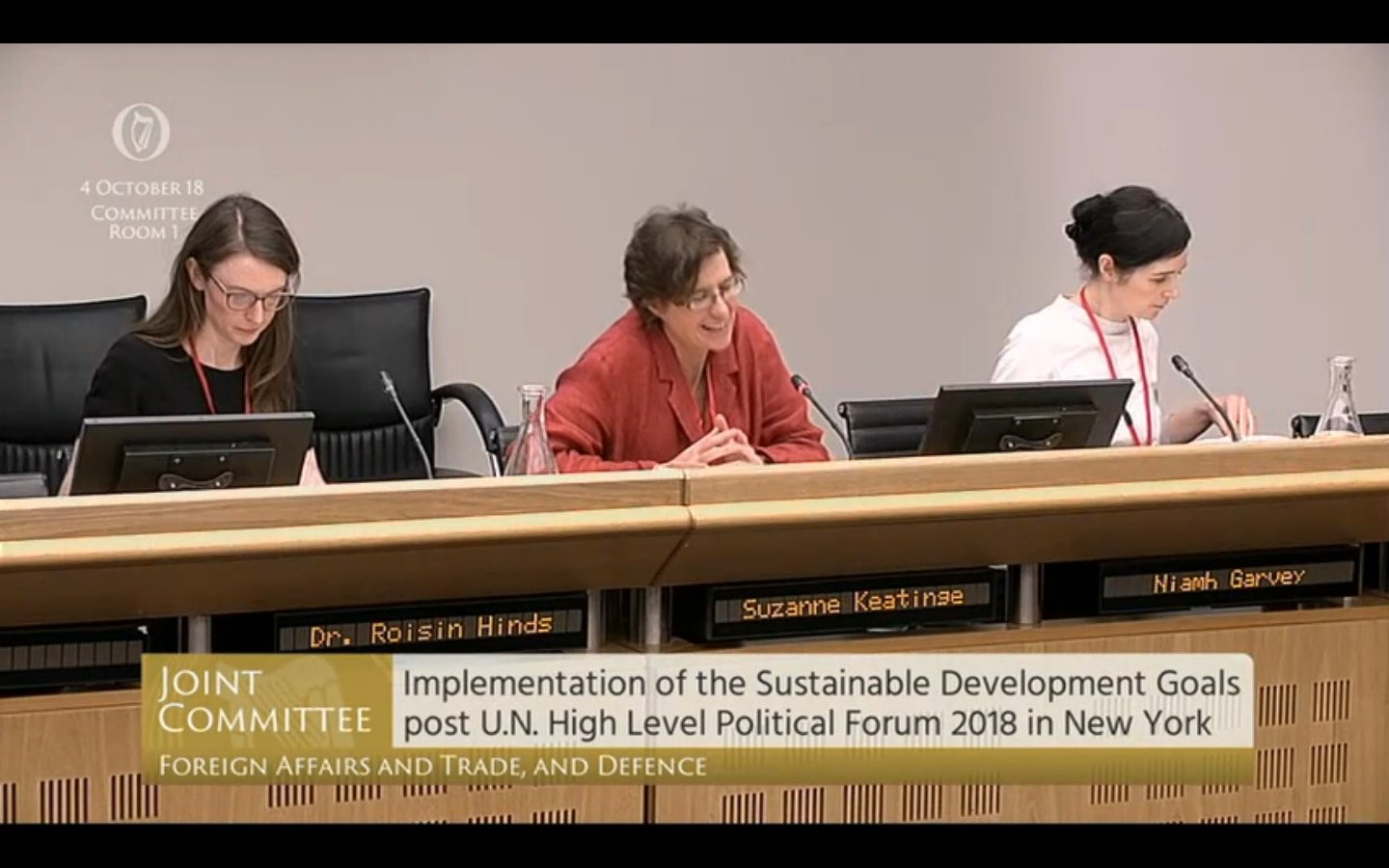 Róisín Hinds of Oxfam Ireland appearing before Joint Oireachtas Committee on Foreign Affairs and Trade with Suzanne Keatinge of Dóchas and Trócaire's Niamh Garvey. Photo: Oireachtas TV