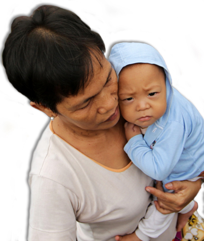 Philippines typhoon survivors - mother and baby
