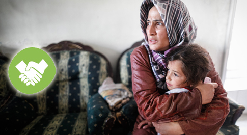 Mother and child during a Syrian air raid in 2012