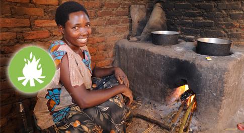 Dedreda Moraba tends a fuel efficient stove