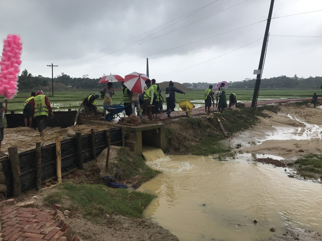Damage following heavy rains at Rohingya refugee camp in Cox's Bazar