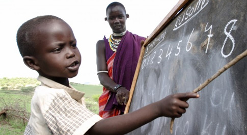 Songoi at school in Tanzania