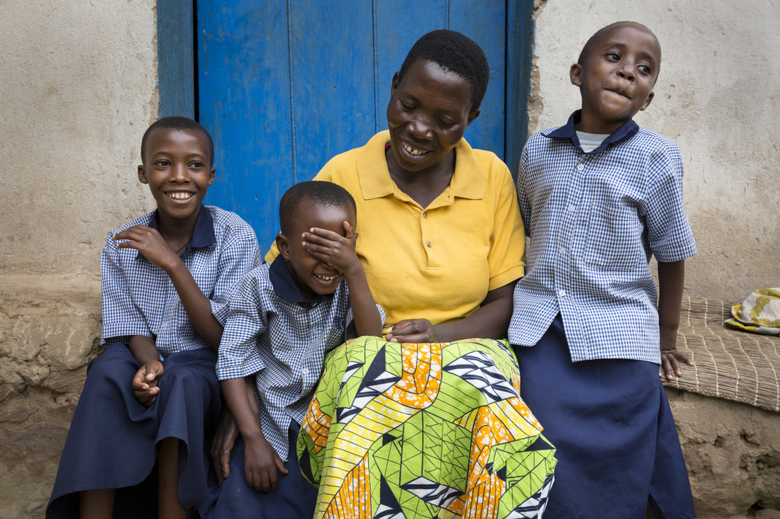 Madeleine and her children. Rwanda